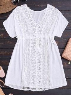 Crocheted Lace Panel V Neck Beach Dress - White