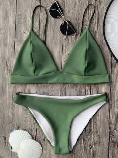 Cami Plunge Bralette Bikini Top And Bottoms - Green M