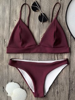 Cami Plunge Bralette Bikini Top And Bottoms - Burgundy M