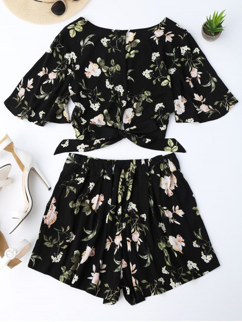 outfit Bowknot Floral Cropped Top and Elastic Waist Shorts - FLORAL L Mobile