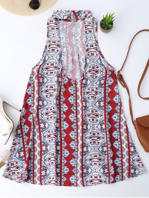 latest Backless Printed Tunic Dress - COLORMIX M Mobile
