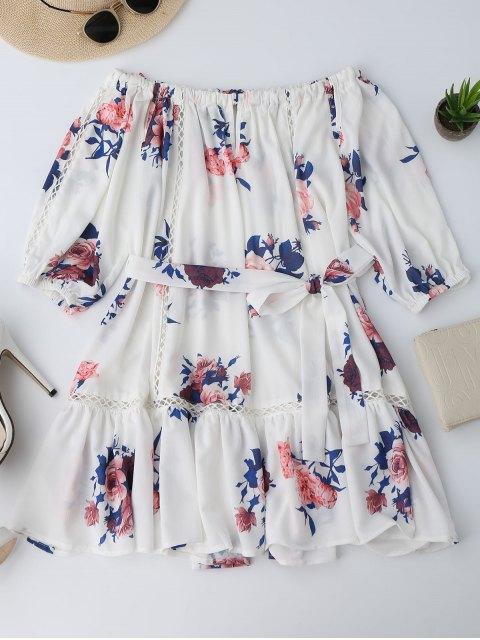 fancy Floral Cut Out Off Shoulder Mini Dress - FLORAL S Mobile