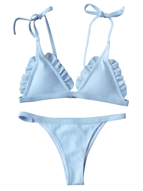 sale Rib Textured Frilled String Bikini Set - BLUE S Mobile