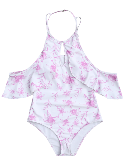 chic High Neck Flutter Ruffles One Piece Swimsuit - WHITE S Mobile