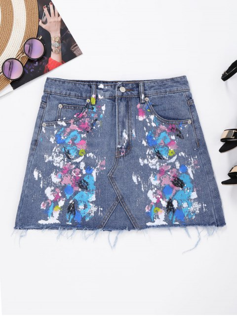 fashion Frayed Paint Splatter Denim Skirt - DENIM BLUE XL Mobile