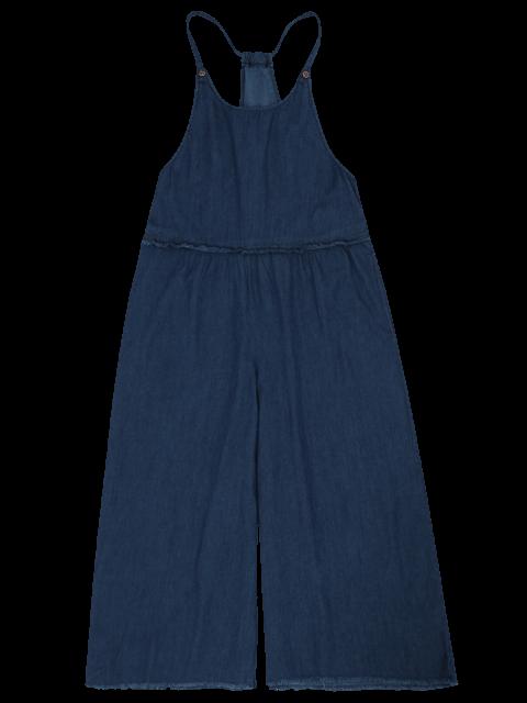 fancy Frayed Trim Cami Wide Leg Denim Overalls - CERULEAN M Mobile
