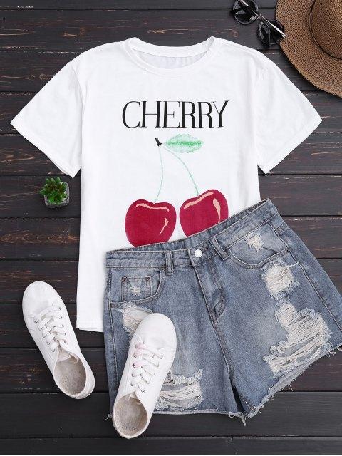 womens Cherry Print Short Sleeve T-Shirt - WHITE ONE SIZE Mobile