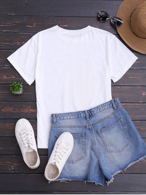 ladies Banana Print Short Sleeve T-Shirt - WHITE ONE SIZE Mobile
