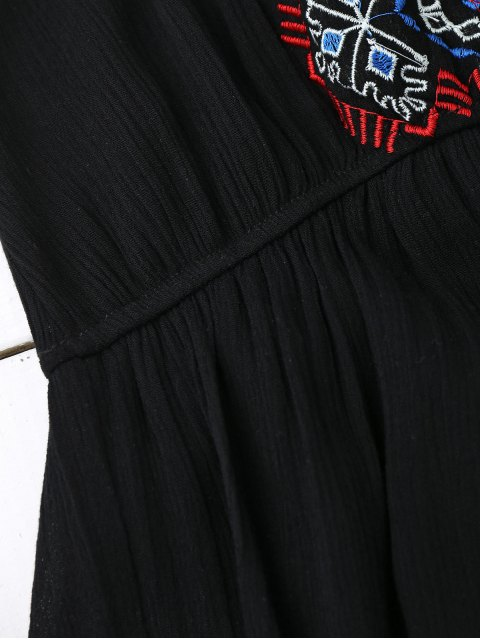 outfits Embroidered Tassel Sundress - BLACK ONE SIZE Mobile