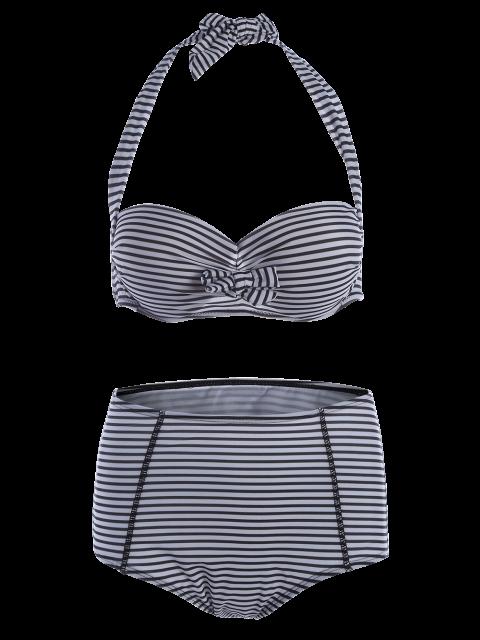 women's Halter Neck Stripe High Waist Bikini Set - STRIPE S Mobile