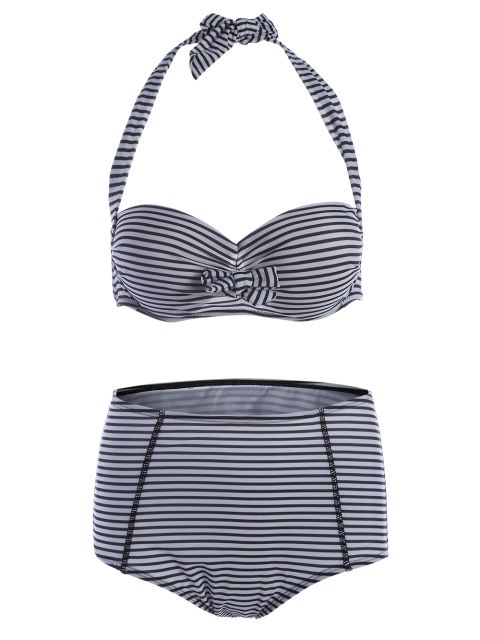 ladies Halter Neck Stripe High Waist Bikini Set - STRIPE M Mobile
