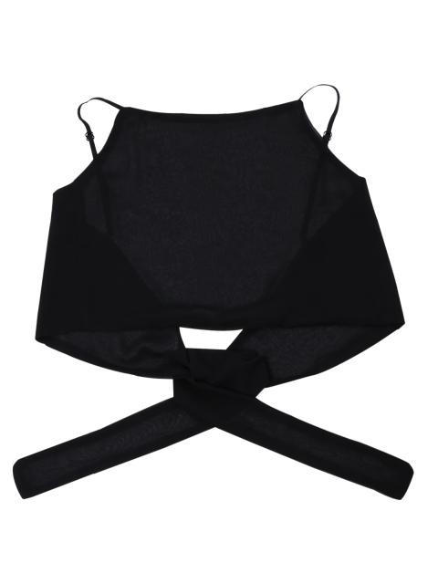 outfit Tie Back High Neckline Crop Top - BLACK ONE SIZE Mobile