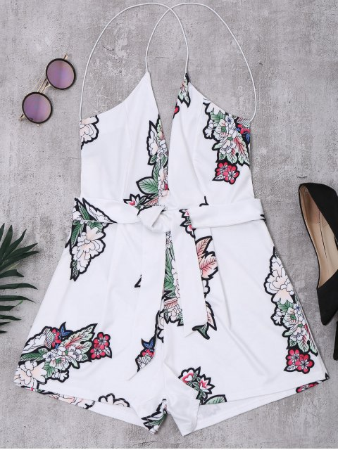 outfit Elastic Straps Backless Floral Romper - WHITE M Mobile