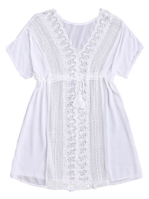 online Crocheted Lace Panel V Neck Beach Dress - WHITE ONE SIZE Mobile
