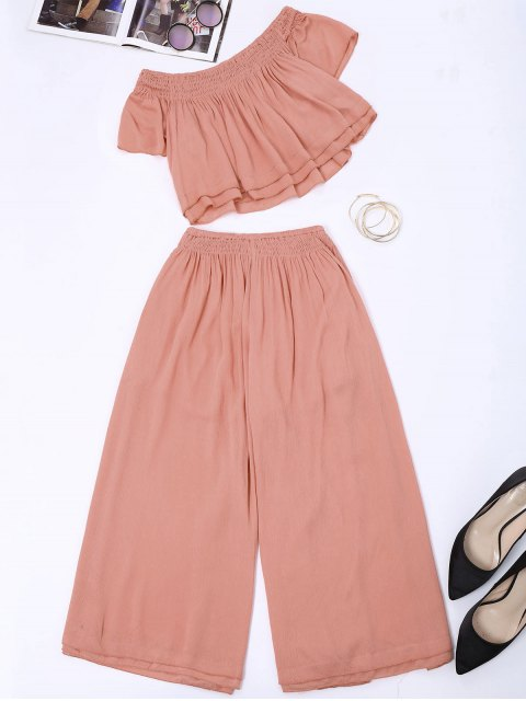 shop Off Shoulder Top and Wide Leg Capri Pants - PAPAYA S Mobile