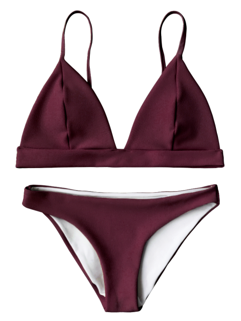 best Cami Plunge Bralette Bikini Top and Bottoms - BURGUNDY M Mobile