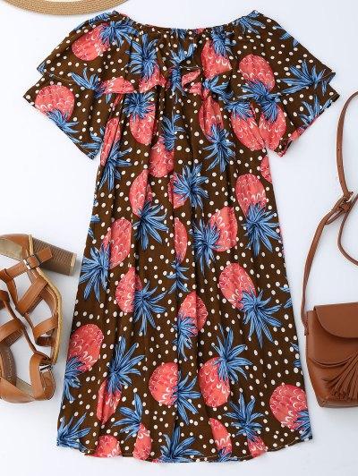 Ruffle Off Shoulder Pineapple Dress от Zaful.com INT