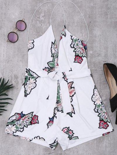 Mono Femenino Floral Elastico Con Tirantes Sin Espalda - Blanco M