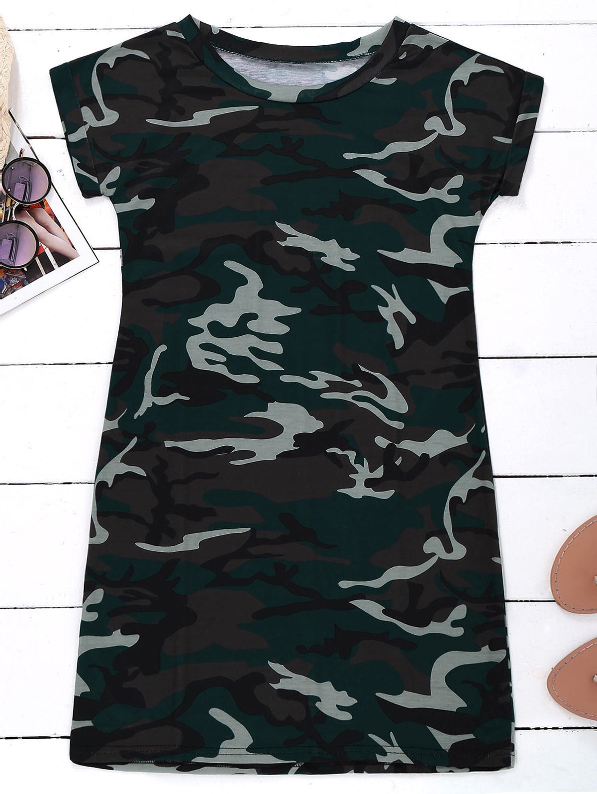Camo T-Shirt Dress, Camouflage