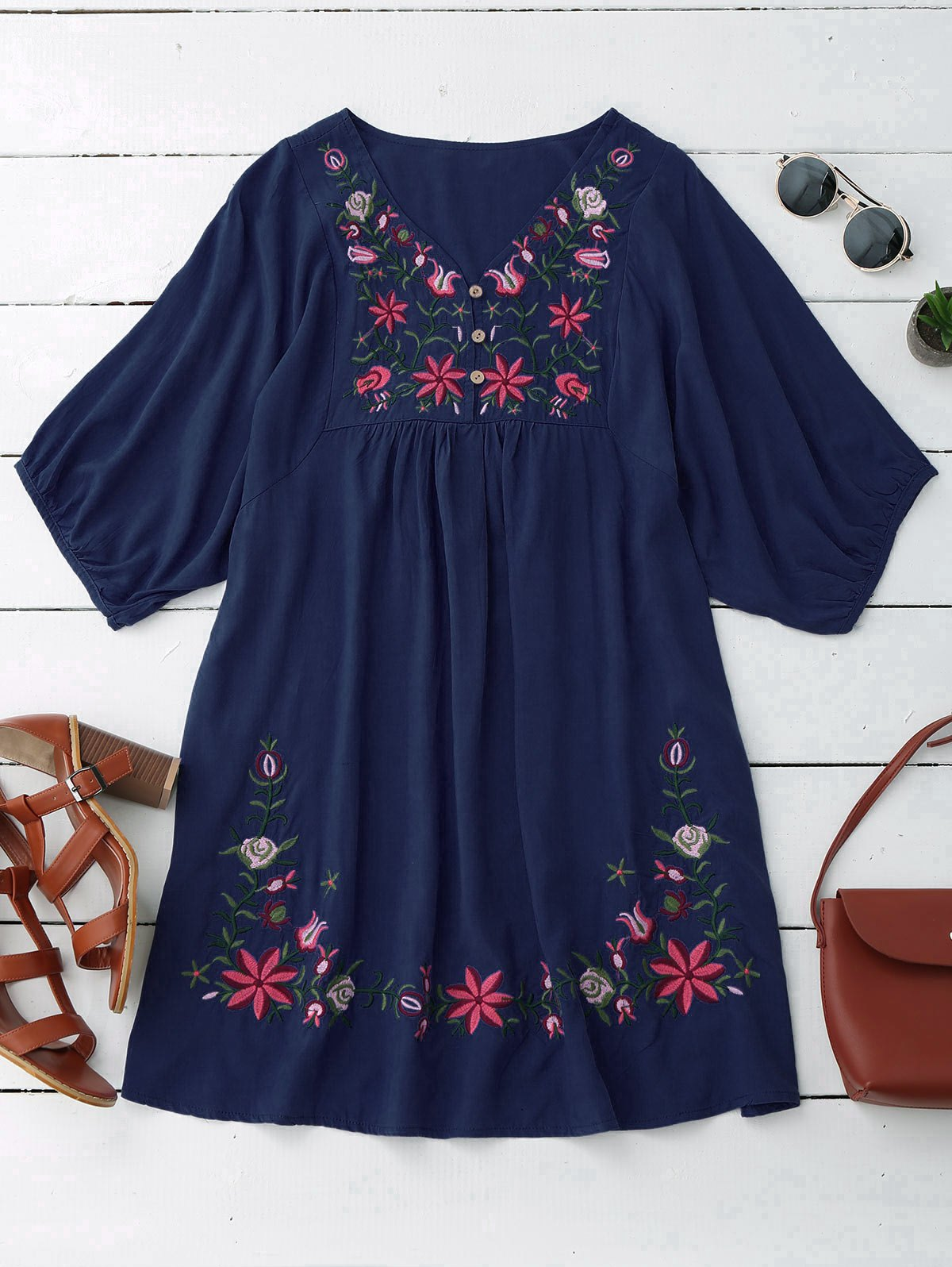 Floral Embroidered V Neck Peasant Dress от Zaful.com INT
