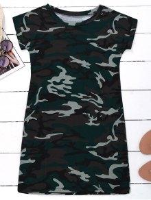 Camo T-Shirt Dress - Camouflage L