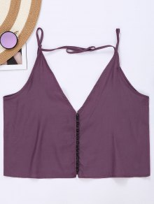 Button Up Spaghetti Strap Crop Tank Top