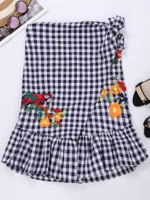 Plaid Bird Ruffle Wrap Skirt