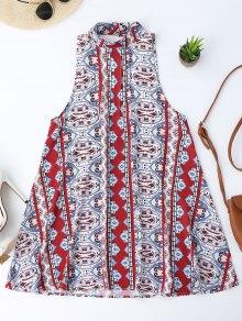 Backless Printed Tunic Dress