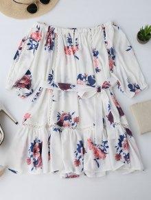 فستان زهري قطع بلا اكتاف مصغر - الأزهار L