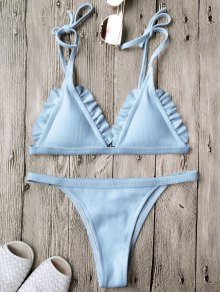 Rib Textured Frilled String Bikini Set - Blue
