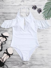 High Neck Frilly Slimming One Piece Swimsuit - White