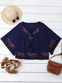 Oversized Embroidered Fringed Top