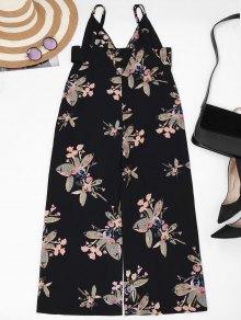 Straps Floral Wide Leg Jumpsuit - Black S