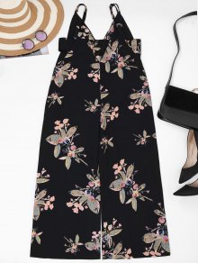 Straps Floral Wide Leg Jumpsuit - Black