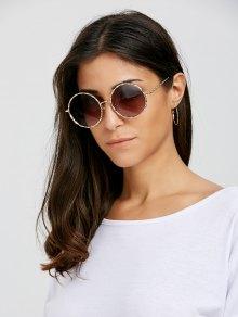 Wavy Metallic Frame Leg Ombre Round Sunglasses - Tea-colored