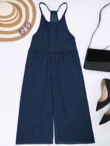 Frayed Trim Cami Wide Leg Denim Overalls - Cerulean L