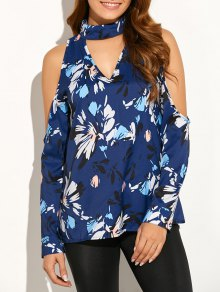 Cold Shoulder High Collar Blouse - Blue S