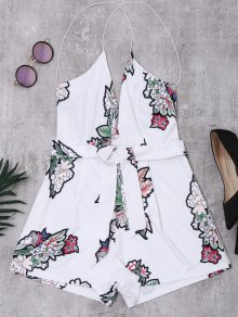 Elastic Straps Backless Floral Romper