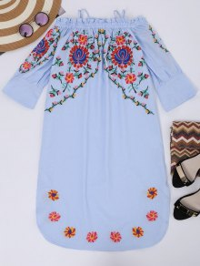Cami Floral Embroidered Flare Sleeve Dress