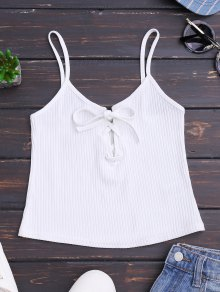 Ribbed Lace Up Crop Tank Top - White M