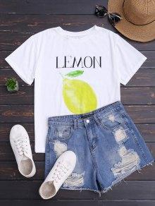 الليمون طباعة قصيرة الأكمام تي شيرت - أبيض