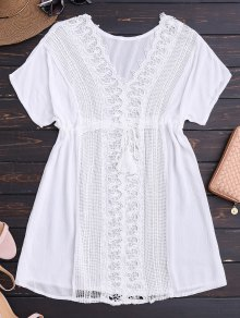 Crocheted Lace Panel V Neck Beach Dress - White