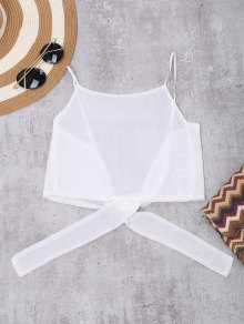 Tie Back High Neckline Crop Top - White