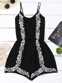 Cami Floral Embroidered Romper - Black
