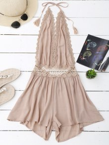 Halter Crochet Panel Backless Romper - Light Apricot Pink S