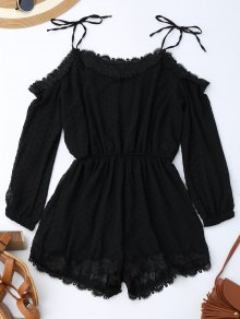Lace Trim Tie Shoulder Romper With Dot - Black M