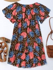 Ruffle Off Shoulder Pineapple Dress