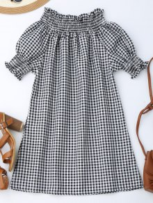Off The Shoulder Puff Sleeve Plaid Dress