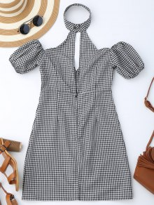 Choker Empire Waist Plaid Dress - Checked L