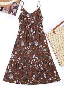 Cami Floral Empire Waist Holiday Dress - Dark Auburn M